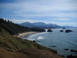 A view of Haystack Rock from Ecola State Park