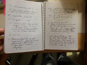 actual writing